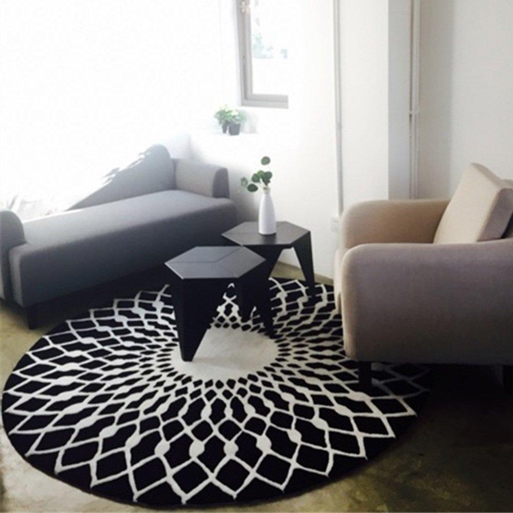 ZZHF カーペット黒と白ラウンドラグリビングルームコーヒーテーブルラージカーペットベッドルームスタディルームモデルカーペットサイズオプション カーペットの下敷き ( 色 : A , サイズ さいず : 100cm ) 100cm A B07BHF2VTF