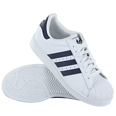 Adidas Superstar II J White Navy Leather Youth Trainers Size 3.5 UK   Amazon.co.uk  Shoes   Bags 85b29ed26