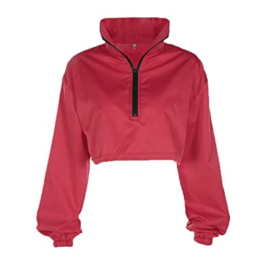 Amazon.com: Yakke Pullovers Women Oversized Red Winter Hoodies Sweatshirts Sudaderas Mujer Cropped Hoodie Loose Casual Turtlenec: Clothing