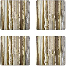 Marble Coaster Set of Four by Ambesonne, Onyx Marble Rock Themed Vertical Lines and Blurry Stripes in Earth Color Print, Square Hardboard Gloss Coasters for Drinks, Mustard Brown