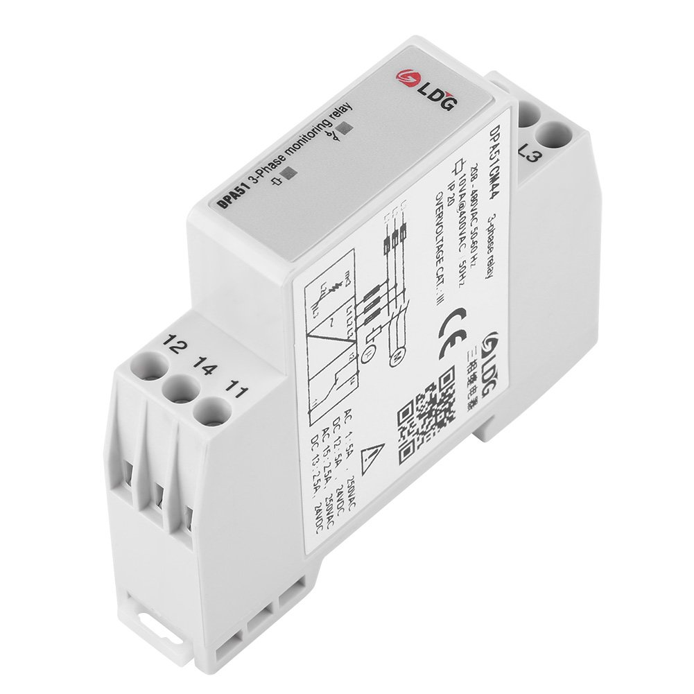 DPA51CM44 3-Phase Monitoring Relay, Current/ Voltage Monitoring Relay Phase Sequence Protector for three-phase System, Without Neutral, phase Loss and Incorrect phase Sequence, 208-480VAC
