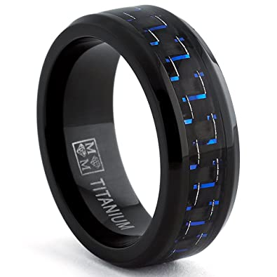 Black Titanium Wedding Band Ring With And Blue Carbon Fiber Inlay Comfort Fit 8mm