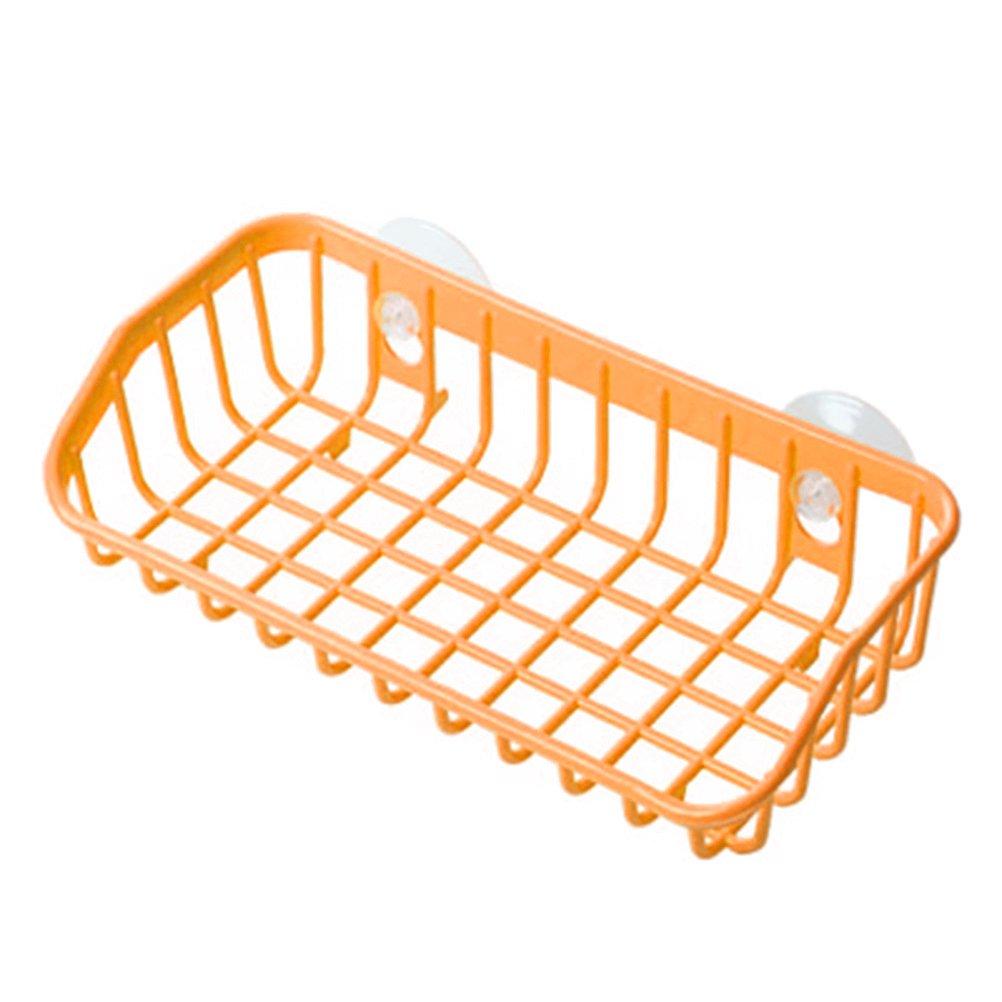 OUNONA Cuisine Salle de bain Plastique multifonctionnel Double étanchéité Mur suspendu Stockage Rack Rack de stockage (Orange)