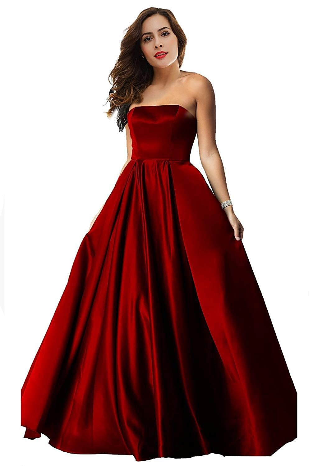 Dark Red Womens Satin Long Prom Dresses 2019 Floor Length Strapless Evening Gowns P179