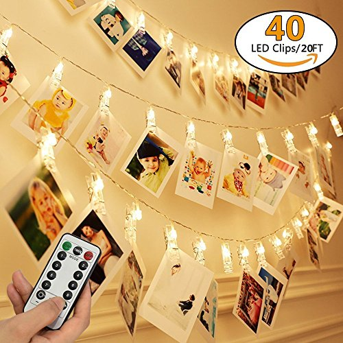 ARDUX 20 feet 40 LEDs Photo Clips String Lights with 8 Modes Remote Control, Remote Control, Warm White Battery Operated for DIY Home Garden Photo Décor by ARDUX