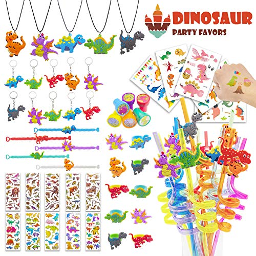56 PCS Dinosaur Party Favors,Dinosaur Party Goodie Bag Fillers,Prizes Gift Carnivals for Kids Birthday ()