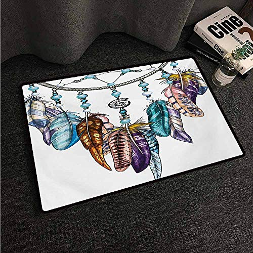 HCCJLCKS Welcome Door mat Feather Ornate Dreamcatcher with Feathers and Gemstone Figures Astrology Spiritual Symbol Country Home Decor W20 xL31 - Multi Swirl Gemstone