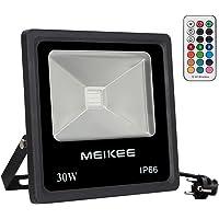 MK Projecteur led extérieur RGB 50W Lampe d'ambiance multicolore 360° contrôlé 16 couleurs 4 modes et 6 choix de luminosité Eclairage décoratif pour Halloween, Noël, Mariage