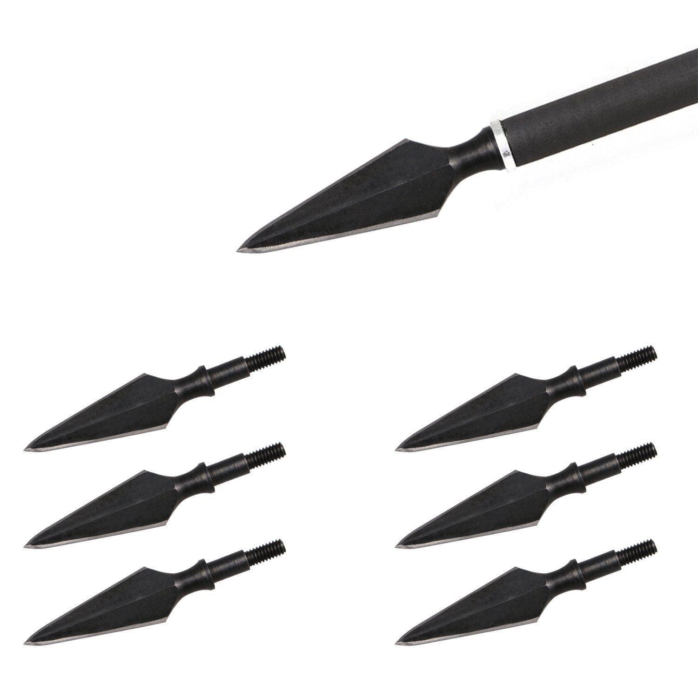 6pcs Arrow Heads Black Steel Sharp Blade Broadheads Screw-in Field Point Tips 150 Grain for DIY Archery Arrows