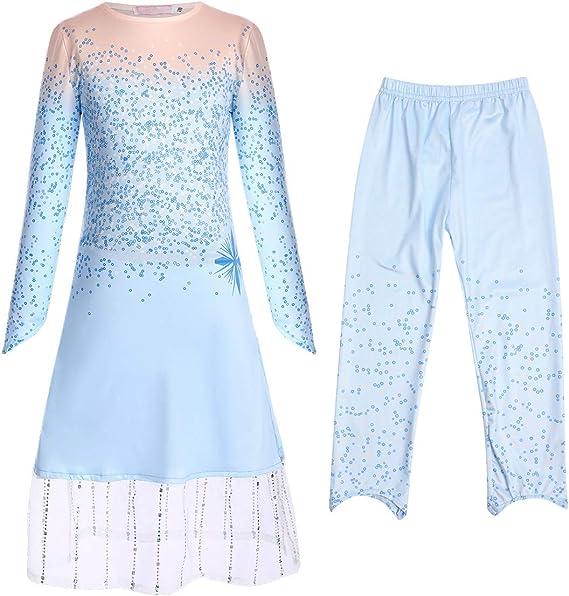 OBEEII Disfraz Elsa Anna Traje Frozen Niñas Princesa Ana Vestido + ...