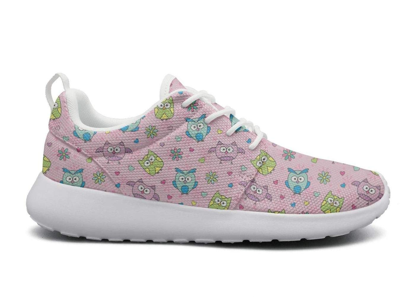 Pink Happy Owls Decor Casual Shoes for Men News Non-Slip Male Running Shoes