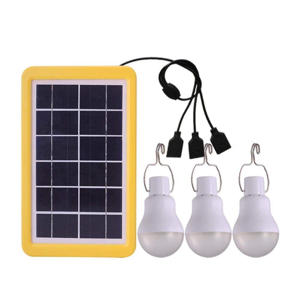 Seatechlogy Solar LED Bulb Emergency Lamps Waterproof Use in The Garden, Camping, Outdoor Travel 3 Bulbs, 110LM, Light Sensor, no Separate Wiring, 3W / 6V
