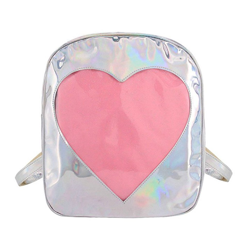 Women Holographic Backpack Schoolbag Rainbow Shoulder Bag with Transparent Heart