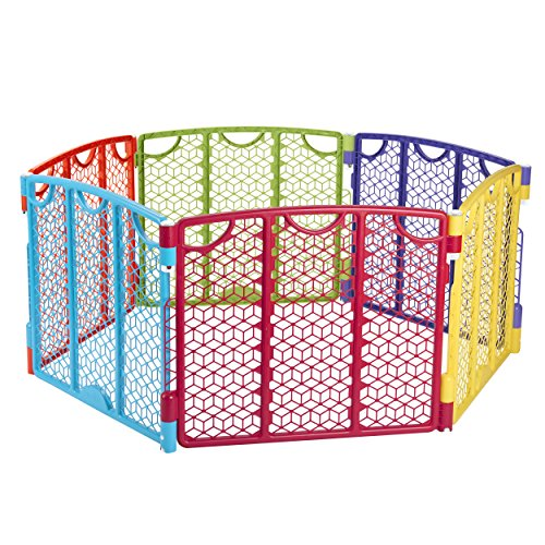 - Evenflo Versatile Play Space, Indoor & Outdoor Play Space, Easy & Quick Assembly, Portable, 18.5 Square Feet of Enclosed Space, Durable Construction, For Children 6 to 24 Months, Multi-Color