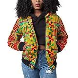 Luluka Women's Long Sleeve Print Dashiki Ethnic Style Africa Baseball Jacket US Large Yellow