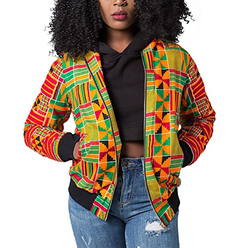 Luluka Women's Long Sleeve Print Dashiki Ethnic Style Africa Baseball Jacket US Large Yellow