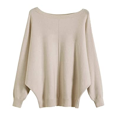 GABERLY Boat Neck Batwing Sleeves Dolman Knitted Sweaters and Pullovers Tops for Women (Beige-2, One Size) at Women's Clothing store