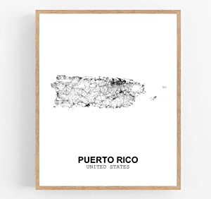 Eleville 13X19 Unframed Puerto Rico United States Country View Abstract Road Modern Map Art Print Poster Wall Office Home Decor Minimalist Line Art Hometown Housewarming wgn195