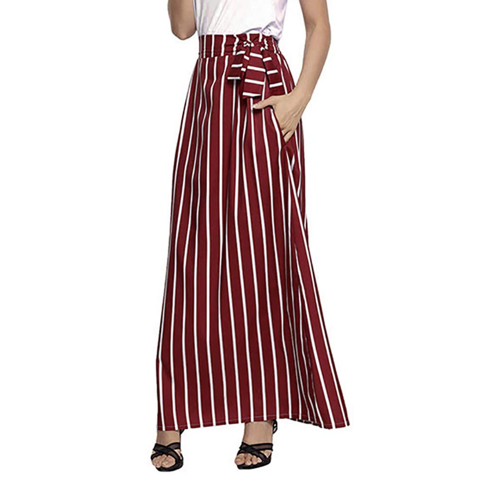 NREALY New Women's Casual Striped Ankle-Length Chiffon Empire Lace-Up Vintage Long Skirt NREALY-skirt-0904
