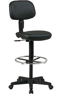Basics Multi-Purpose Drafting//Medical//Spa Stool with Adjustable Foot Rest Black GF-60118-1
