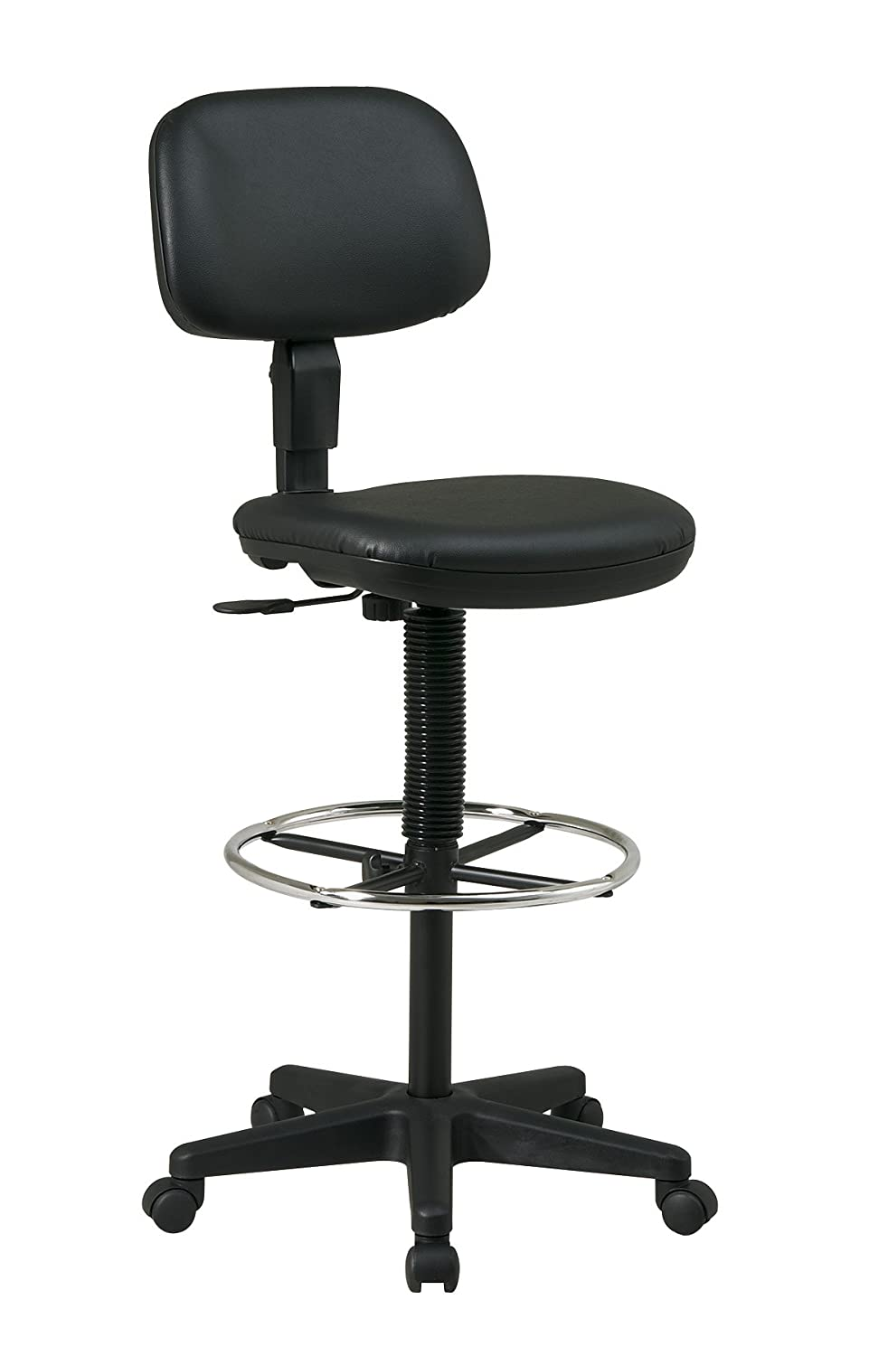Office Star Sculptured Vinyl Seat and Back Pneumatic Drafting Chair with Adjustable Chrome Foot ring, Black DC517V