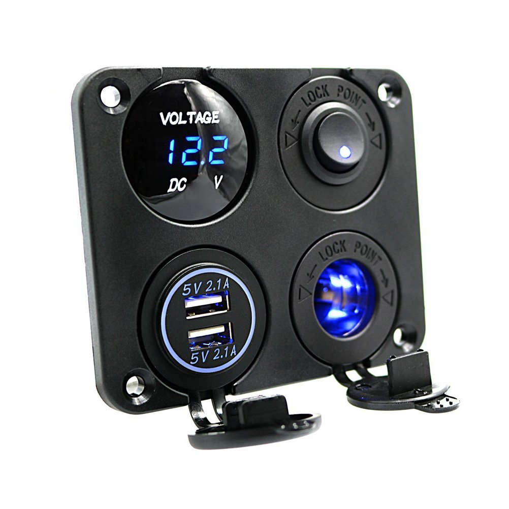 WINOMO 4 in 1 Power Charger Socket Panel Dual USB Socket Charger Voltmeter for Car Boat Rv Y18X469BNNW54345XFWZCKVVJ