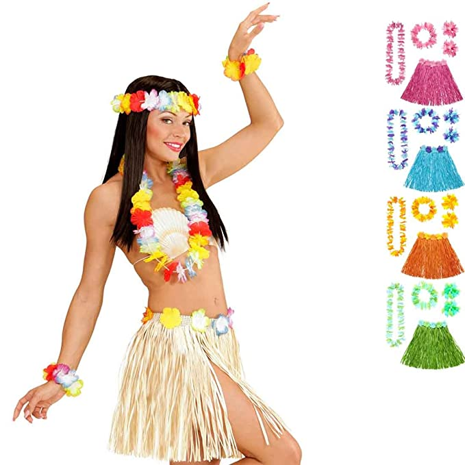 Bastrock Blumenkette Hawaii Hula Set Hawaikette Baströckchen Limbo Strandparty