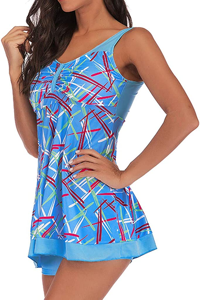 Womens 2 Piece Swimsuits Tankini Top Set with Boy Shorts Slimming Swimdress Swimwear