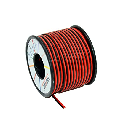 TUOFENG 20 AWG Cable eléctrico 60 metros [Negro 30 m Rojo 30 m] Cable