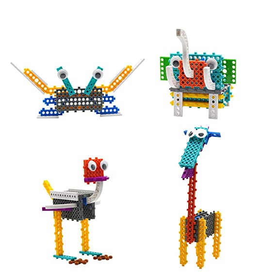 HOMEWE Building Blocks for Kids, 4 in 1 Animals Building Kits Toys for Boys Girls Age 6 7 8 9 10 STEM Educational Construction Toys (Crab, Elephant, Giraffe, Ostrich)