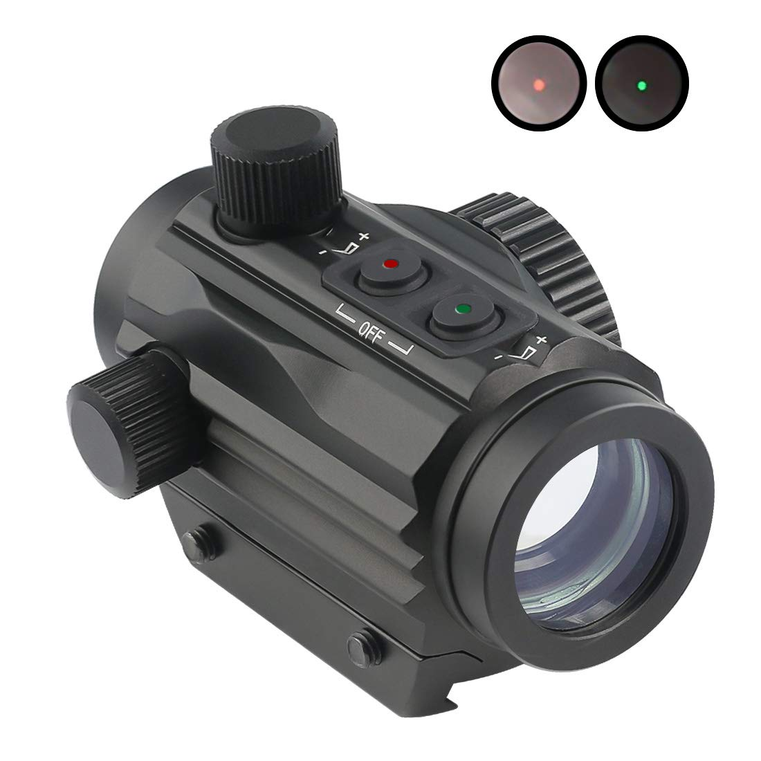 Twod 1x22mm Red Dot Sight Dual Color Illuminated Compact Micro Red/Green Reticle with Circle Dot 5 MOA Fits 21mm Picatinny Rail Mount