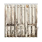 Rustic Shower Curtains InterestPrint Old Vintage Wooden Door with White Paint Garage American Style Decorations for Bathroom Print Vintage Rustic Theme Decor Bathroom Shower Curtain, 72 X 72 Inches
