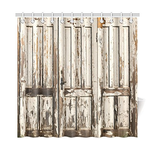 InterestPrint Old Vintage Wooden Door with White Paint Garage American Style Decorations for Bathroom Print Vintage Rustic Theme Decor Bathroom Shower Curtain, 72 X 72 Inches (Rustic Shower)