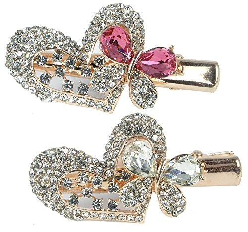 Pink Jeweled Heart (Jeweled Heart & Butterfly Hair Clips Gold Metal with Decorative Pink Clear Rhinestone Crystals - Set of 2)