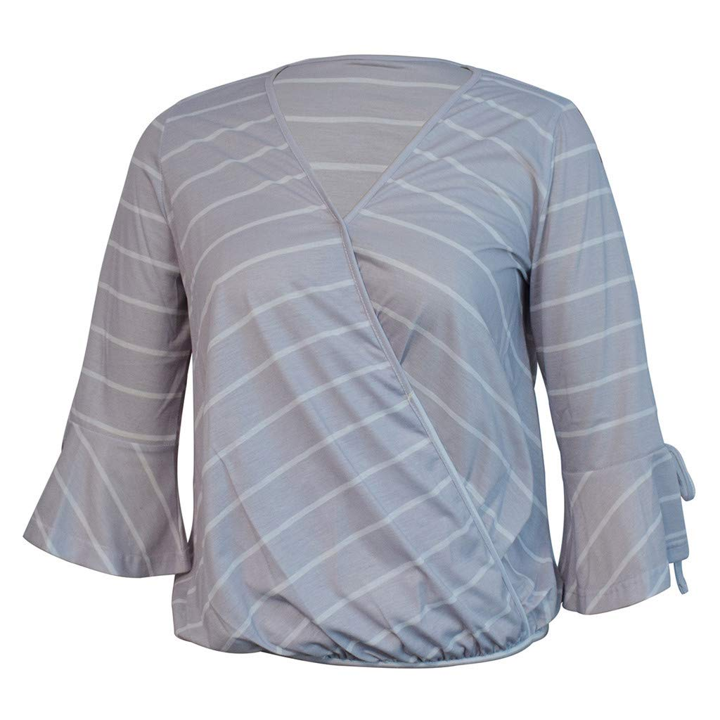 LONGDAY Women Casual T-Shirt Wrap V-Neck Flare Sleeve Shirt Summer Loose Blouse Striped Top Tunic Ladies Pullover Basic Gray by LONGDAY-Women Tops (Image #4)