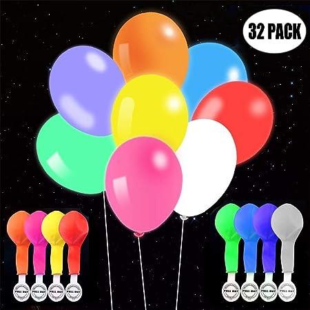 TECHSHARE LED Luftballons Party, Leuchten Ballons 32 Stück Mischfarbe für Geburtstag Hochzeit Hauptdekorationen Festival Weih