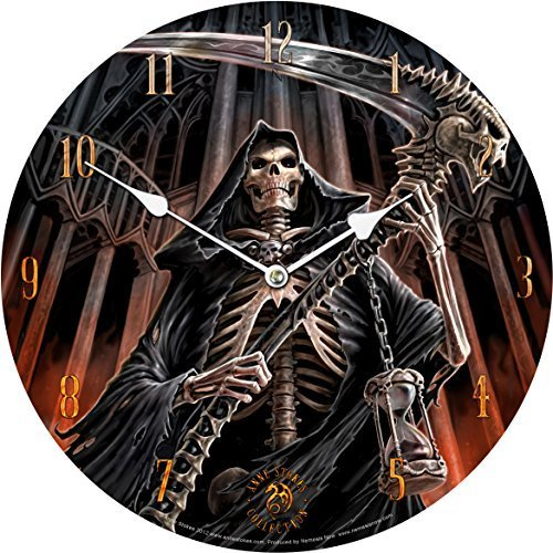 (Grim Reaper Final Verdict Wall Clock - Cloaked Skeletal Scythe Figure Gothic)