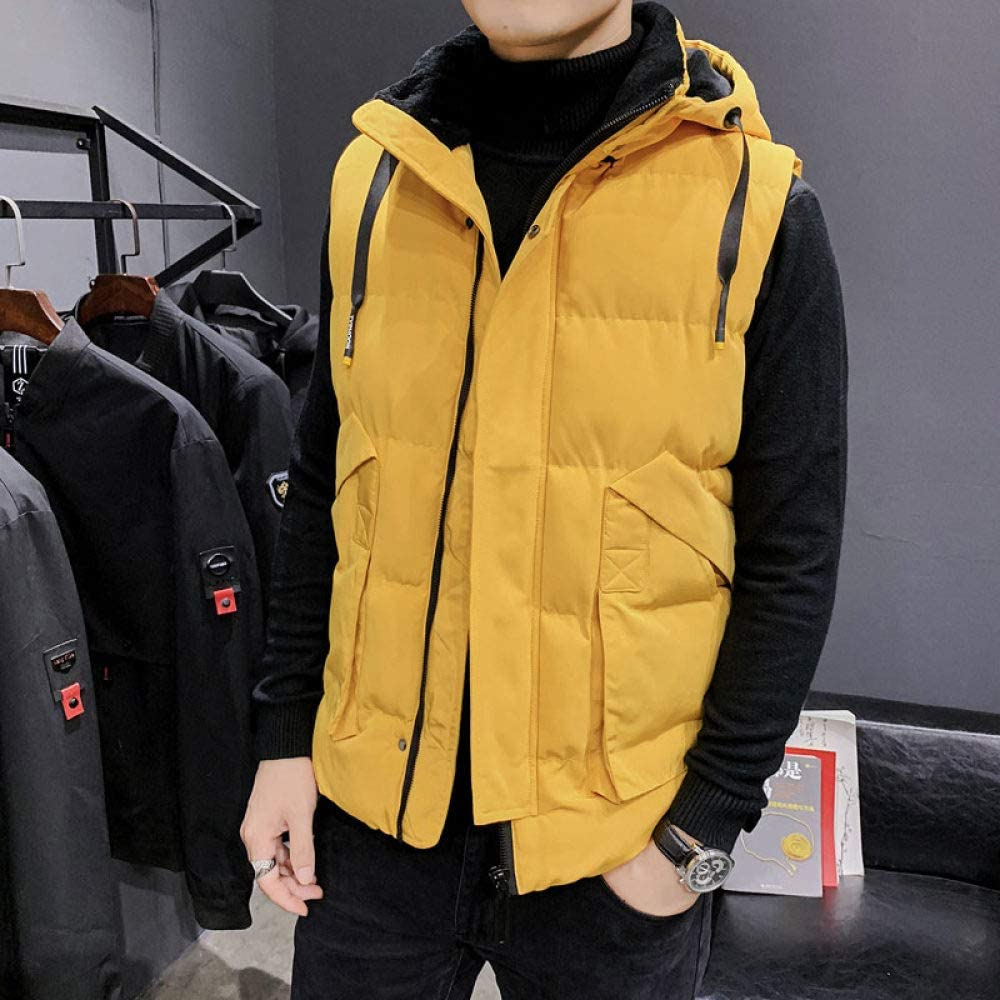 MenS Padded Gilet,Hooded Down Vest Sleeveless Jackets Yellow Waistcoat Fashion Casual Warm Large Size Coats For Winter Travelling Walking