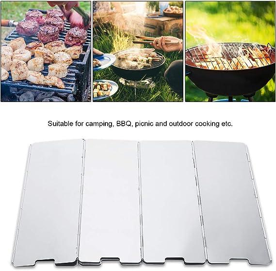 Zerodis 10 unids Placas Plegable Al Aire Libre, Cocina Camping Pantalla de Viento Estufa de Gas Parabrisas de Viento de Aleación De Aluminio de ...