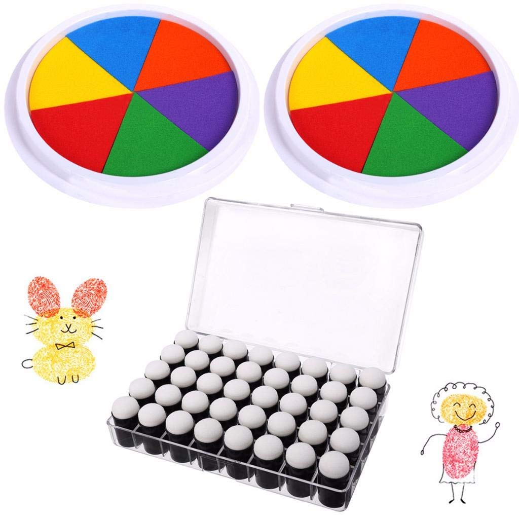 OBANGONG 40 Pcs Craft Finger Sponge Daubers with 2 Pcs Rainbow Finger Ink pad for Card Making Painting Drawing Chalk