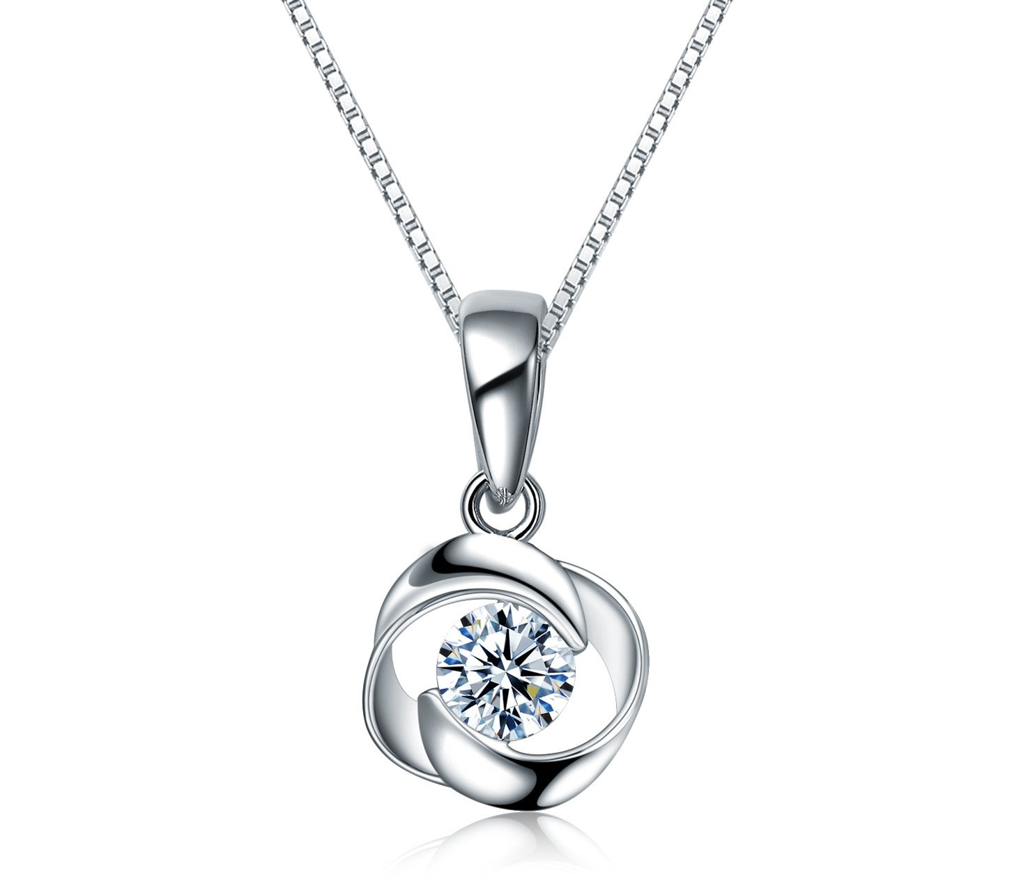 {sassu fine}Rose Pendant Necklace Swarovski Zircon Jewelry for Women Girls Ideal Christmas Gifts Birthday Gifts for Daughter Granddaughter Girlfriend Mother Wife (Necklace) (Necklace)