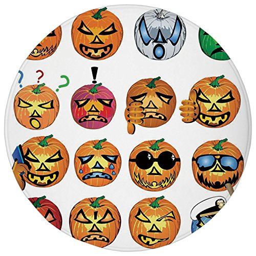 2.95 Ft Round Bathroom Rug,Halloween Decorations,Carved Pumpkin with Emoji Faces Halloween Humor Hipster Monsters Art,Orange,Flannel Microfiber Non-slip Soft Absorbent Kitchen Floor Bath Mat Carpet