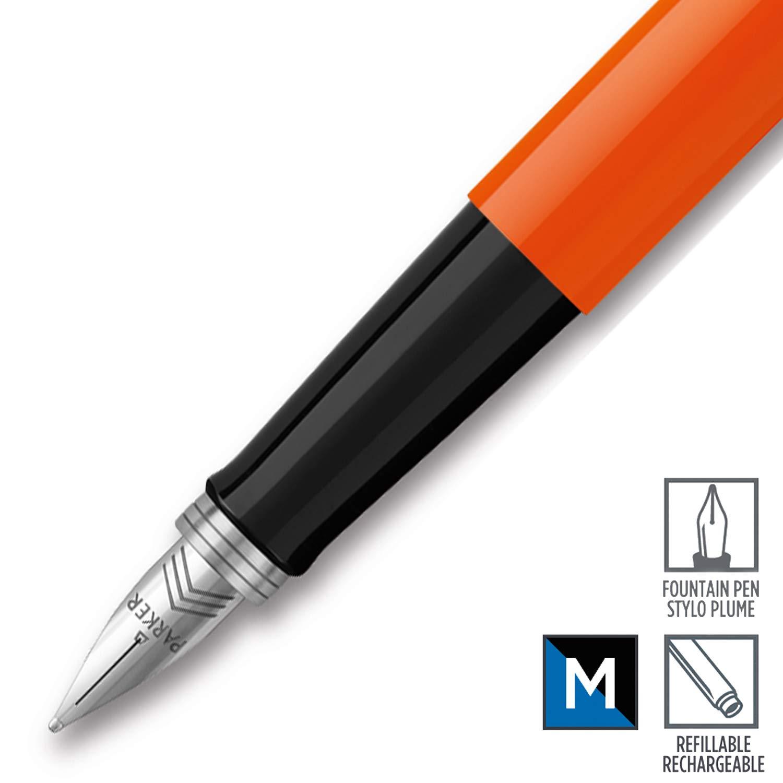 Confezione da 1 Finiture Arancione in Stile Classico Parker Jotter Originals Colezione di Penne Roller Punta Fine Inchiostro Nero