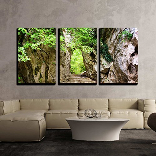 wall26 - 3 Piece Canvas Wall Art - Scenic Stone Stairs Leading Up to Gate in Rocks Among Green Foliage - Modern Home Decor Stretched and Framed Ready to Hang - 24