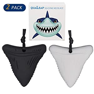 Shark Tooth Chew Necklace for Kids, Boys or Girls - Chewing Necklace Teething Necklace Teether Necklace Chew Toys Teething Toys - Designed for Chewing, Autism, Autism Sensory Teether Toy (2 Pack)