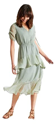 Momo&Ayat Fashions Ladies Sage Ditsy Spot Midi Dress UK Size 6-14 (Sage Green
