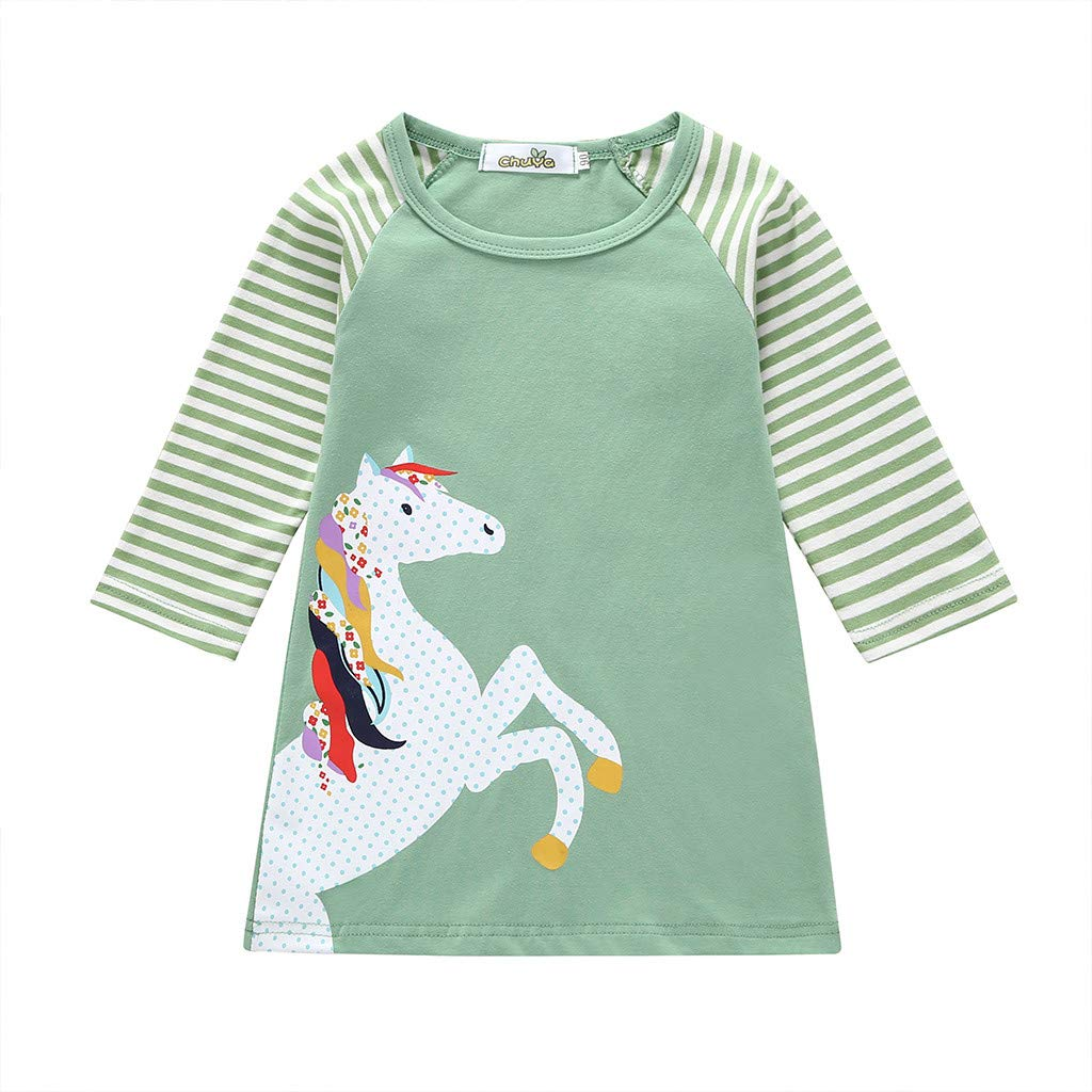 NUWFOR Toddler Baby Girl Kid Cartoon Clothes Horse Stripe Print Princess Party Dress(Green,5-6 Years)