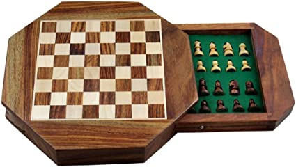 Avs Stores Wood Magnetic Travel Chess, Chessmen Set and Wooden Board Traveling Games (Octane 9 inch)