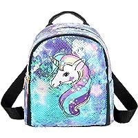 Ikaif Mochila De Lentejuelas Brillantes Mini Unicornio para Niñas, Mochila Escolar con Cierre…