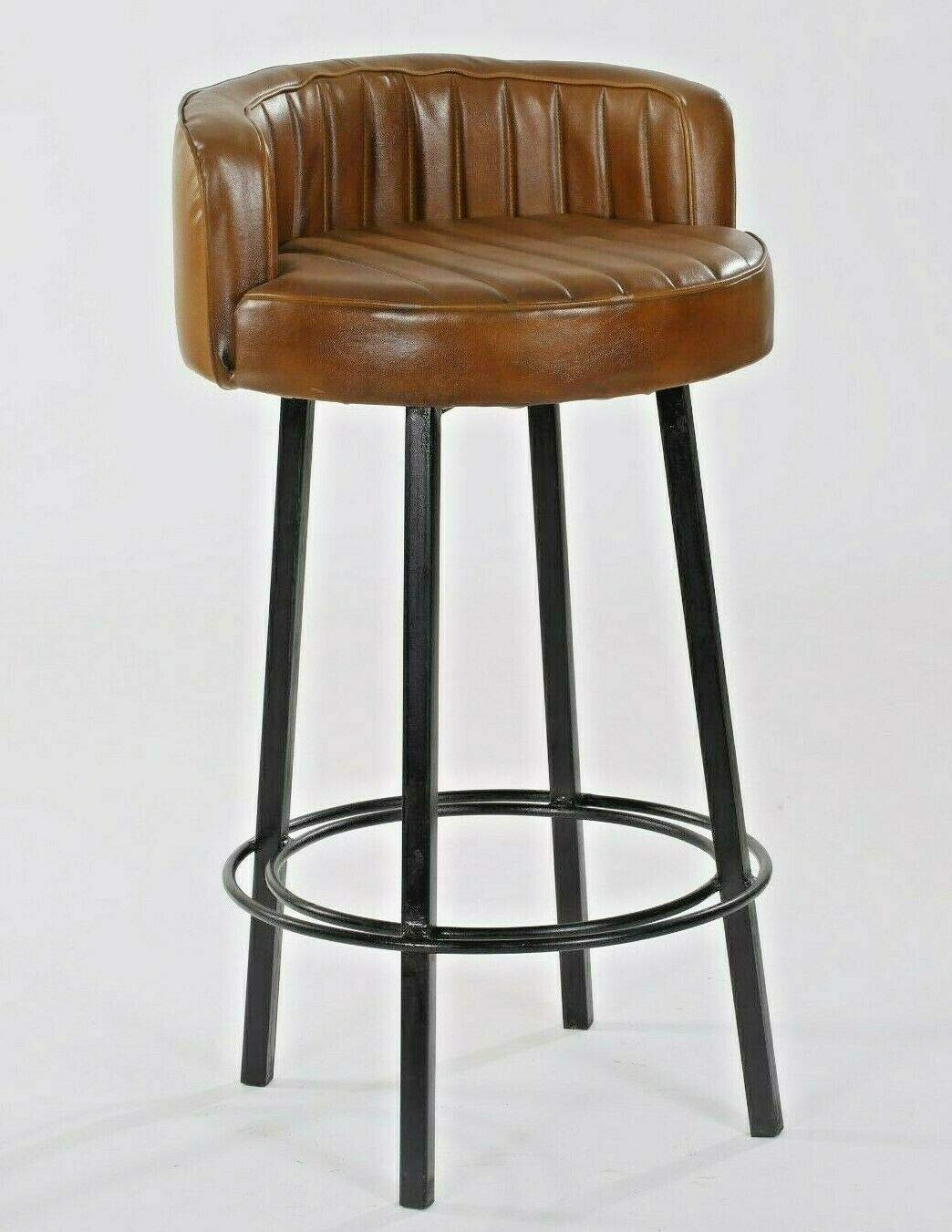 Amazon.com: Ms Exim Craft Industrial Leather Long Bar Stool Brown